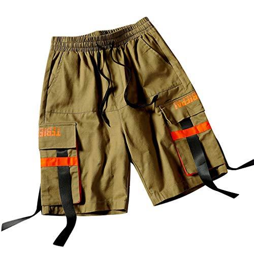 Herren Sommer Outdoor Casual mehrere Taschen Ribbon Overalls Shorts Hosen Amoyl