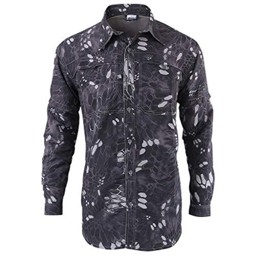 Xmiral Shirt Hemd Herren Schnelltrocknendes Lässiges Langarm T-Shirt mit Farbmuster für Das Militär Sweatshirt Hemden Polohemd Tanktop(a Schwarz,XL)