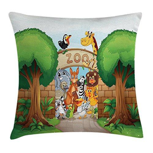 DCOCY bambini federa per cuscino, Zoo ingresso con giraffa Leon Elephant Pelican Zebra Monkey Tiger accoglienti grafiche, decorative Square Accent Pillow case, 45,7x 45,7cm, multi