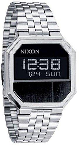 Nixon Re Run Unisex 38mm Bracelet & Boitier Acier Inoxydable Quartz Cadran Noir Digital Montre A158-000