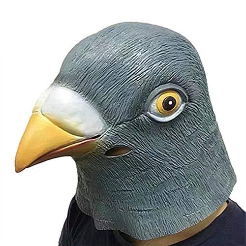 WasJmu Gruselige Taubenkopfmaske 3D Latex Stütze Tier Cosplay Kostüm Party Halloween Neue Taubenkopfmaske Latex Riesen Vogelkopf Halloween, Taube