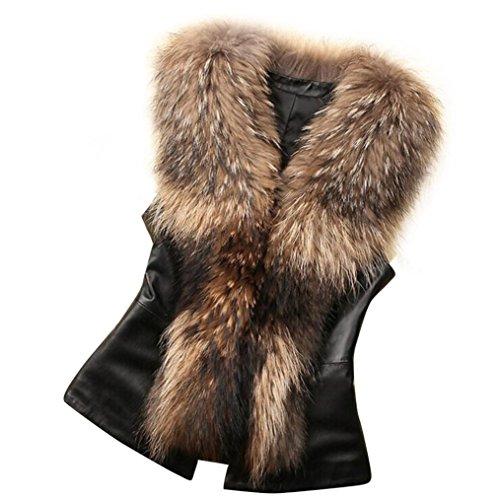 Kunstpelz Weste Sunday Damen Kunstpelz Leder Mode Jacke ärmellose Winter Körper (Braun, L) (Ärmellose Leder)