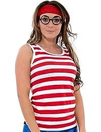 Camiseta con rayas rojas y blancas, gorro y gafas a juego, vestido atractivo