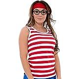 Camiseta con rayas rojas y blancas, gorro y gafas a juego, vestido atractivo Rojo Full set(Vest+Hat+Glasses+Socks) Small UK 8