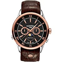 Roamer Men's Quartz Watch with White Dial Chronograph Display and Brown Leather Strap