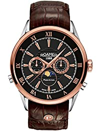 Roamer Men's Quartz Watch with Black Dial Chronograph Display and Brown Leather Strap 508821 49 53 05