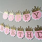 Partysanthe She'S A Princess Glitter Pink And Gold Happy Birthday Crown Banner