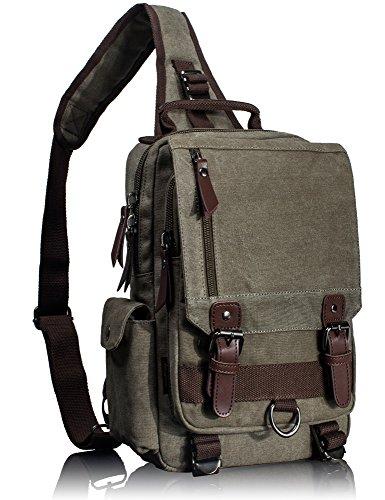 Leaper Vintage Canvas Rucksack Handtasche Schultasche für Outdoor Außflug Sport(XS,Armeegrün) XS,Armeegrün