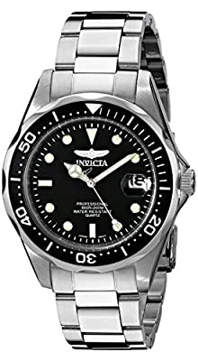 Invicta Unisex Pro Diver Quartz Watch with Black Dial Analogue Display and Silver Stainless Steel Bracelet 8932