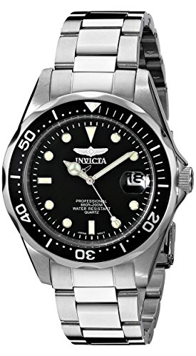 Invicta-Unisex-Pro-Diver-Quartz-Watch-with-Black-Dial-Analogue-Display-and-Silver-Stainless-Steel-Bracelet-8932