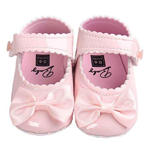 BZLine - Unisexe Bébé Bowknot Chaussure en PU cuir - Semelle à tissu - Anti-glissant (0~6 Mois, Blanc) Pink