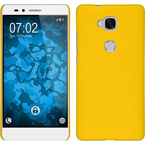 PhoneNatic Case kompatibel mit Huawei Honor 5X - Hülle gelb gummiert Hard-case Cover 5 X Hard Case