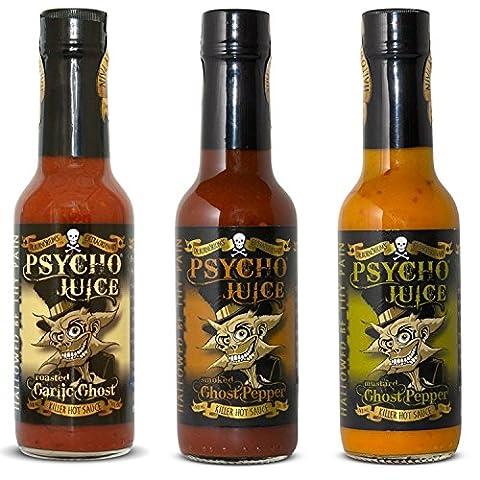 Psycho Juice Geschenk-Set-Geist-Pfeffer-Sammlung Packung mit 3 Hot Sauces: Ghost Kollektion