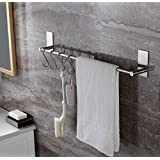 3M Self Adhesive Single Towel Bar with 5 S Hooks - 16 Inch Brushed Finish Stainless Steel Hanger Bar for Kitchen Bathrooms Lavatory Closets, Water and Rust Proof, Heavy Duty
