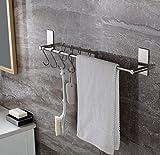 Selbstklebender Handtuchhalter mit 5 S Haken, 55cm Handtuchstange Edelstahl rostfrei Ohne Bohren, Einfach zu installieren, Super starke Haftung, wasserdicht adhesiveness, Bad und Küche