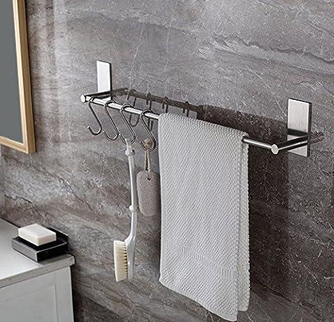 Selbstklebender Handtuchhalter mit 5 S Haken, 40cm Handtuchstange Edelstahl rostfrei Ohne Bohren, Einfach zu installieren, Super starke Haftung, wasserdicht adhesiveness, Bad und Küche