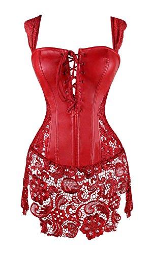 MISS MOLY Damen Gothic Kunstleder Korsagenkleid Schwarz Faux Leder corsage Clubwear, Rot, Gr. ()