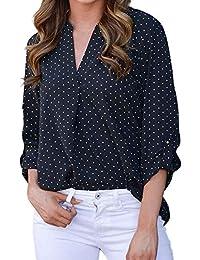 VJGOAL Mujer Primavera Moda Casual con Cuello en v Camiseta Clásico Salvaje Lunares Imprimir Suelta Manga