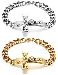 d6704d3603bc JewelryWe - Pulsera para hombre con cruz inglesa y cruz de Jesús Padre  Signor de acero