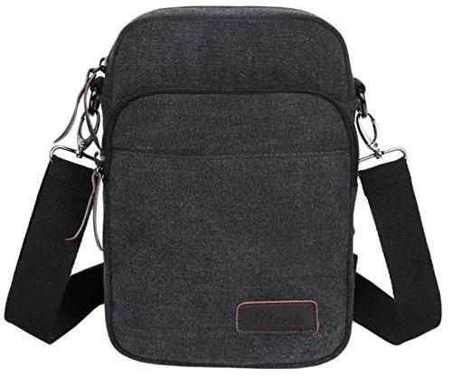 SK Studio Herren Schultertaschen Damen Messenger Tasche Mit Leder Zip-Taschen Dual Funktionelle Schultertaschen Brusttasche Pouch Gürteltasche Schwarz