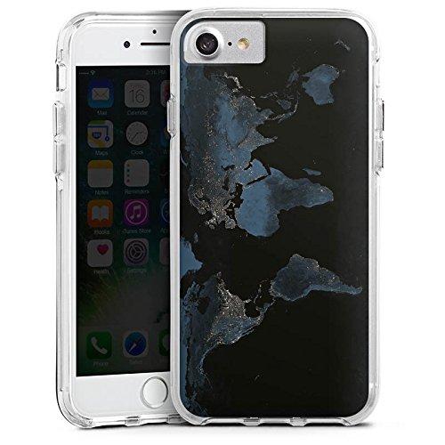 Apple iPhone 6s Plus Bumper Hülle Bumper Case Glitzer Hülle World Map Weltkarte Reisen Bumper Case transparent