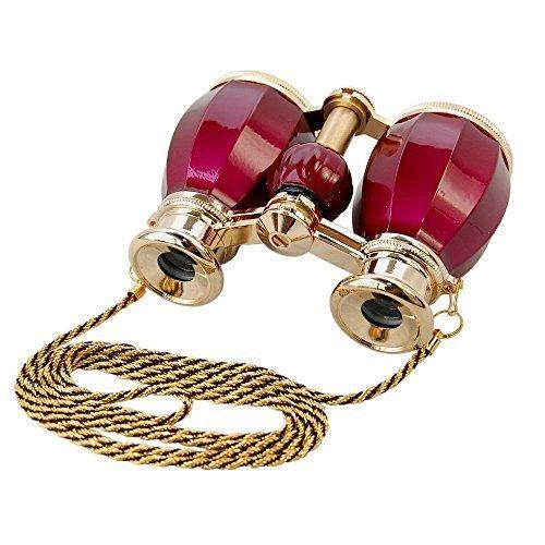 HQRP Prismáticos de ópera / Binocular de teatro de estilo antiguo 4 x 30 de color borgoña, adorno dorado con cadena dorada