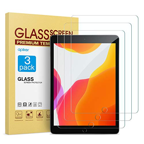 apiker [3 Pezzi Compatibile con iPad 10.2 2019 Vetro Temperato,Pellicola Protettiva per iPad 7a Generazione,Durezza 9H, Alta Trasparenza, Anti-Impronte Digitali/Graffi,Nessuna Bolla