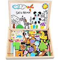 Satu Brown Magnetic Board Puzzle Games 100 Pieces Wooden Kids Toy, Double Face Jigsaw& Drawing Easel Chalkboard Popular Educational Learning Toys