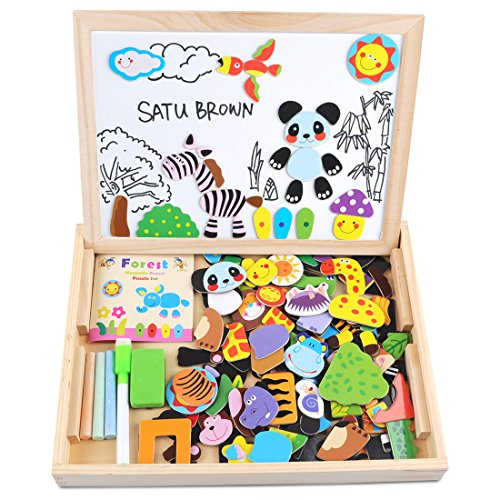 Magnetic Dry Erase Board Puzzles Games 100 Pieces Wooden Toy, SATUBROWN Double Face Jigsaw& Drawing Easel Chalkboard Popular Educational Learning Toys for Kids