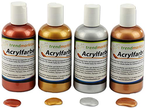 Acryl-Farben-Set Metallic Gold, Silber, Bronze, Kupfer