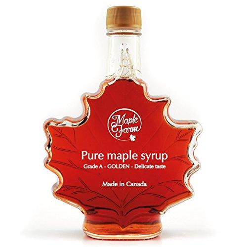 Kanadischer Ahornsirup - Blatt Flasche - Grad A (GOLDEN, Delicate taste) 500ml (661g) - Maple Syrup in leaf bottle