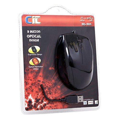 CiT Optische Maus M14 USB/PS2, 800 dpi, Schwarz -