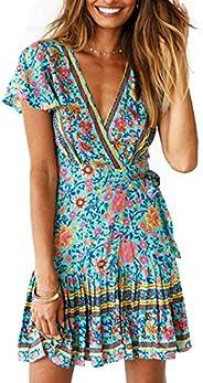 Women's Dresses Summer Bohemian Vintage Floral Printed Ruffle Hem V-Neck Mini Dress S