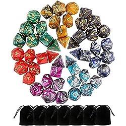 Beetest 49 Piezas Dados de rol D&D, Dado Poliédrico y de rol de Juegos para Dungeons & Dragons con 7 Piezas de Bolsos, 7 Sets de RPG DND MTG D4/D6/D8/D10(0-9 y 00-90)/D12/D20