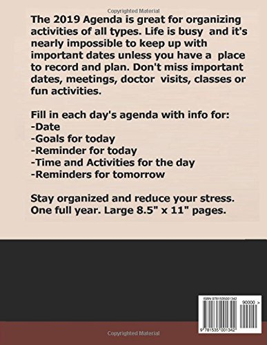 2019 Agenda: Great for planning activities, the 2019 Agenda helps you organize your lfe by organizing reminders like a day planner for personal or business agenda.