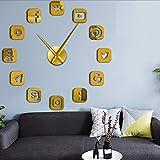 Wmbz Logiciel De Communication sans Cadre Signe 3D Bricolage Horloge Murale Autocollante Calme Balayage Moderne De Mode Maison Décoration Horloge Montre Or 27Inch...