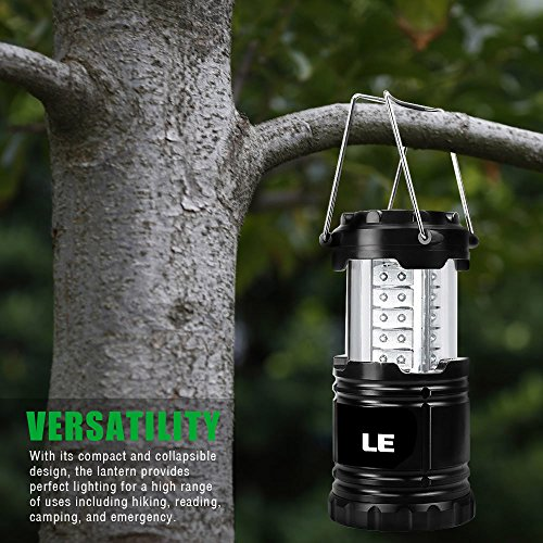 51KIr9tVGXL. SS500  - LE Portable LED Camping Lantern Outdoor 30 LEDs Flashlights IPX4 Water Resistant Lamp Battery Powered Light for Home Garden Hiking Fishing Emergency (2 Packs)