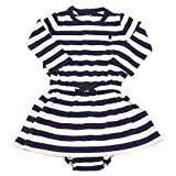 Ralph Lauren 7403W Vestito Bimba Girl Blue/Ivory Cotton Dress + Slip Girl [9 Months]