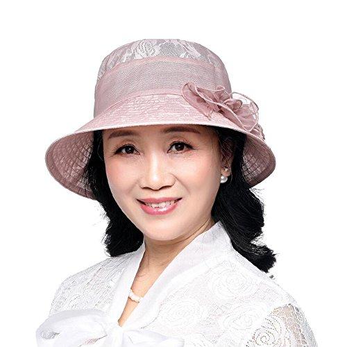 BAIYICHEN Damen Sonnenhut Von Mittlerem Alter Und Ältere Menschen Strohhut  Frauen-Masken-Hut Eleganter Edler UV-Schutz (Farbe : Champagnerfarbe)
