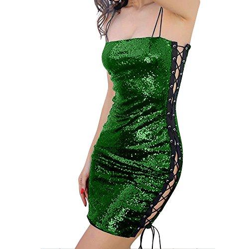 (Luckycat Frauen Sleeveless Spitze UpStretch Sequin Bodycon Partykleider Minikleid Abendkleider Schwingenkleid Cocktailkleid Blusenkleid Kleider)
