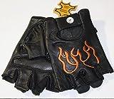 Alpha Stars Fingerlose/Halbfinger Leder Handschuhe Schwarz Orang Flammen für Motorrad/Biker und alle Sport (XL)