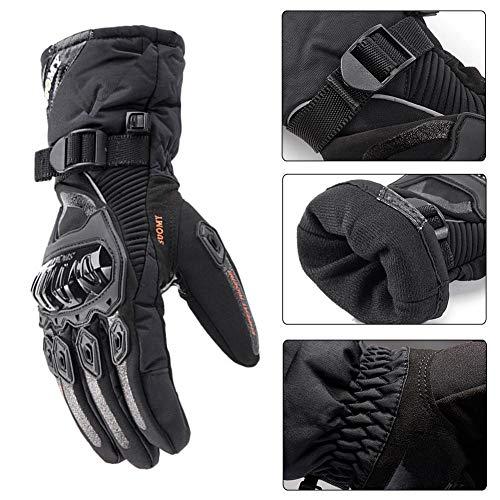 Feiledi Commercio Guanti da Moto Impermeabile Moto Guanti Moto Invernali con Touch Screen, Hand Protector Ciclismo all' Aperto in Pelle da Motociclista Locomotiva, Nero, x-L