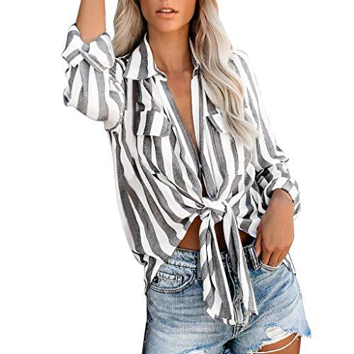 Haughtily Damen Frontknöpfe Knotentaschen Bluse Lässig Roll Up Umlegekragen Langarm Streifen Jacke Tunika -