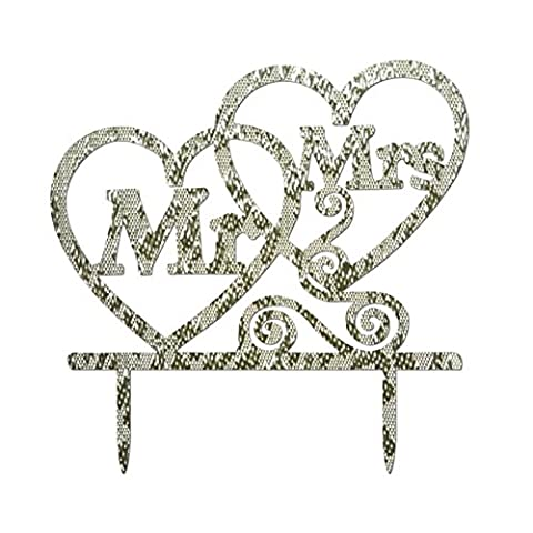 Saingace 1Pc Mr and Mrs Cake Topper Double Love Heart Cake Decoration For Wedding Party Aniversary (Silver)