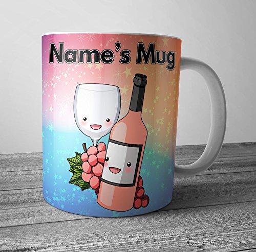 Vin Rosé et raisins Mug – Cadeau personnalisé – ajouter n'importe quel nom