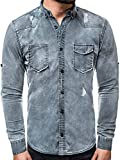 OZONEE Herren Klassisch Hemd Freizeit Jeanshemd Langarm Shirt Casual Slim Fit B/C666 BLAU M