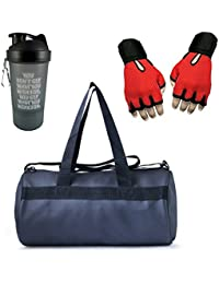 VELLORA Leather Soft Gym Bag (Black) With Sport Sipper Water Bottle And Red Color Gloves
