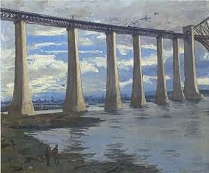 Peinture à l'huile - 20 x 17 inches / 51 x 43 CM - John Lavery - Le Piers Forth pont, ballon cerf...