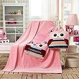 110x160 cm Kuscheldcke Babydecke für Kinder Microfaser Mikrofaser Fleecedecke mit der Tasche schöne süße Motive weich kuschelig Cuties pink rosa owls Eule