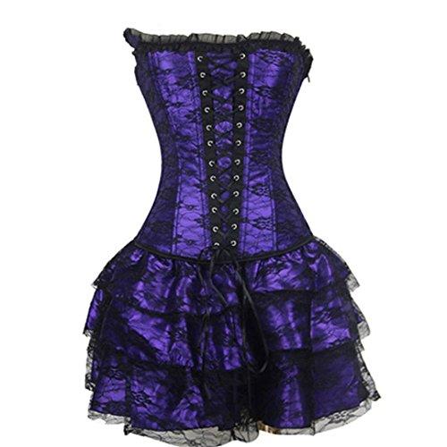 GRENSTY Sexy Lustig Gothic Lace Steampunk Korsett Größe Kostüm Blumenstrauß Purple 4XL